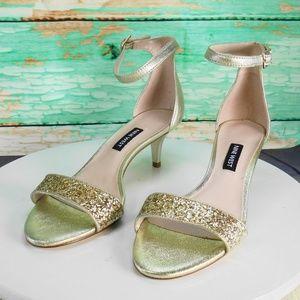 Nine West Leisa Gold Evening Sandals Size 6 M